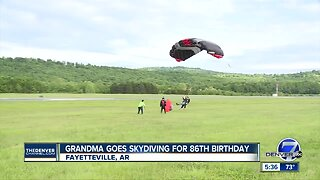 86-year-old grandmother goes skydiving