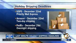 Holiday shipping deadlines are this week - Video