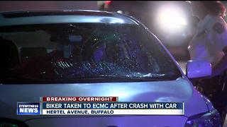 Biker taken to hospital after overnight crash in Buffalo - Video