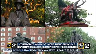 Pugh removes Confederate monuments, public opinions differ - Video