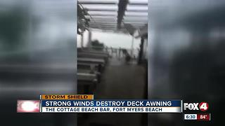Video shows Fort Myers Beach bar deck roof blown away by storm