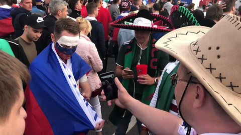Mexican Soccer Fans Share Tequila With Russian Supporters After World Cup Opener