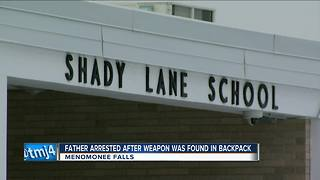 Father arrested after weapon found in child's backpack - Video