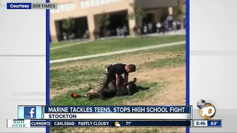 Video shows Marine tackling fighting students to the ground