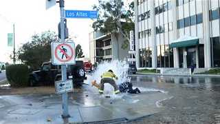 Firemen Come to the Rescue After Jeep Hits Fire Hydrant - Video