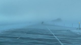 Blowing Snow Creates Eerie Drive on I-29 Near Fargo