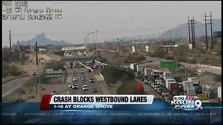 Motorcycle accident causing restrictions on I-10 - Video