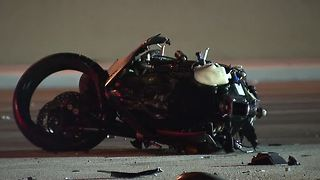 Motorcycle collides with SUV near BLue Diamond, Jones - Video
