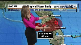 Tropical Storm Emily forms - Video
