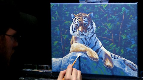 Acrylic Wildlife Painting of a Tiger - Time Lapse - Artist Timothy Stanford