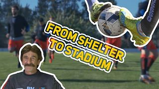 This guy LIVES in a soccer stadium. Every man's dream? - Video