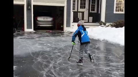 Kids in Hingham Make Best of Icy Weather With Driveway 'Ice Rink'