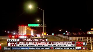 Snow, and ice lead to closure of I-5 through The Grapevine