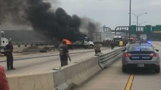 DC Bridge Shut Down After Multi-Vehicle Collision and Fire - Video