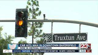 Car hits man in downtown Bakersfield - Video
