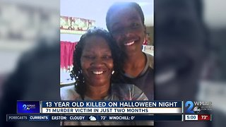 13-year-old dead after being shot in Baltimore on Halloween