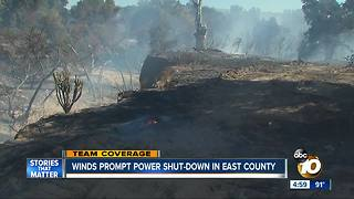 Winds prompt power shut-down in East County San Diego - Video