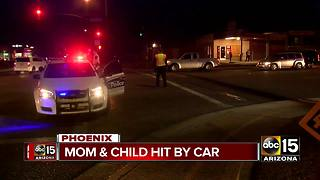 Mother and child hit by car in central Phoenix - Video
