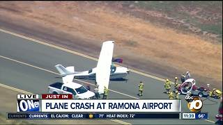 One person injured during hard landing at Ramona Airport - Video