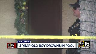 Child drowns in pool at home in Tolleson - Video