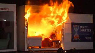 Fire department demonstrates the dangers of Christmas tree fires