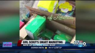 Girl Scout sets up shot outside weed dispensary - Video