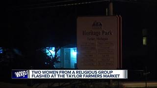 Two women from religious group flashed at Taylor farmers market - Video