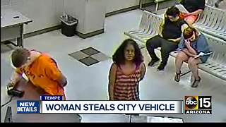 Woman accused of stealing city vehicle in Tempe - Video