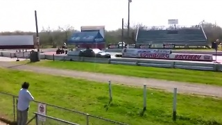 Nissan GTR loses control and crashes at dragstrip