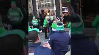 Irish Soccer Fans Cheer Woman Leaving Victoria's Secret Store in Copenhagen - Video