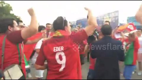 Portugal fans gather to chant in Sochi ahead of game