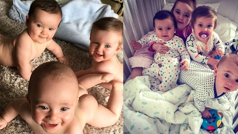 Triplet mayhem – Cheeky trio caught causing mischief at home in series of hilarious clips filmed by their glam mum