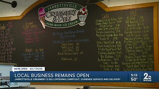 Jarrettsville Creamery and Deli offering carryout, curbside, delivery