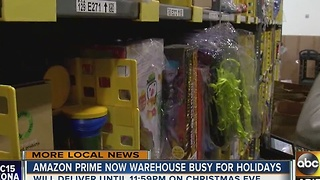 Santa's workshop (of sorts) in Amazon Prime warehouse - Video