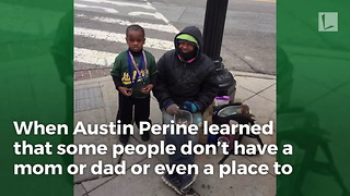 Kindhearted Age 4 Boy Delivers Chicken Sandwiches to Homeless People on Streets - Video