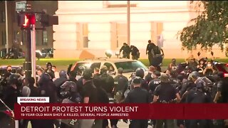 Downtown Detroit Protest Turn Violent