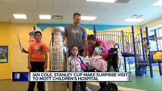 Ian Cole, Stanley Cup make surprise visit to Mott Children's Hospital - Video