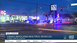 Multiple cars involved in crash near 32nd Street and Cactus Road