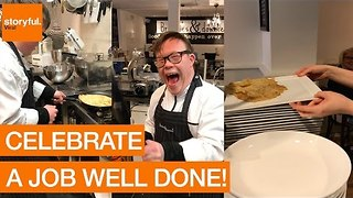 Chef With Down Syndrome Lands Pancake Flip - Video