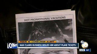 Man claims business misled him about plane tickets