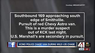 KCMO police chase murder suspect in wild I-35 pursuit - Video