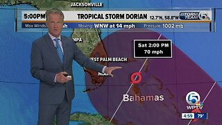 Tropical Storm Dorian's winds at 60 mph, could become hurricane on Tuesday