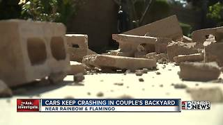 Las Vegas man demands traffic changes after block wall plowed into for sixth time - Video