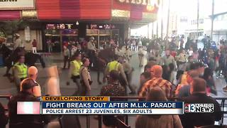 29 people arrested in fight on Fremont Street after MLK parade - Video