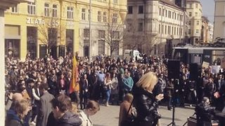 Students Rally in Brno to Protest for Democracy - Video
