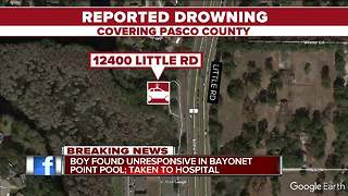 Child transported to hospital after being found unresponsive in Pasco County pool - Video