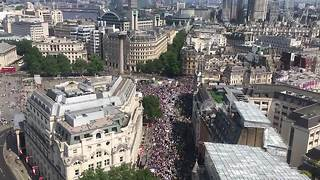Aerial footage shows London march marking 100 years of women's vote - Video
