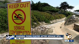 Sewage spill closes Del Mar beach