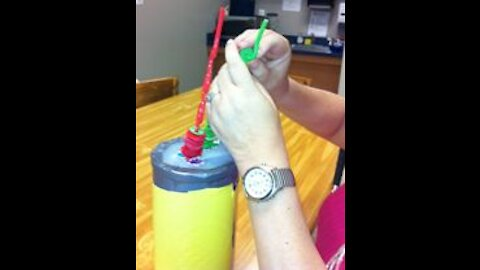 Crazy Straw Ring Stack to Develop Fine-Motor Skills
