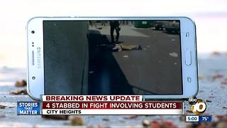 4 kids stabbed in brawl outside high school